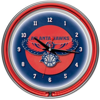 Atlanta Hawks NBA Chrome Double Ring Neon Clock
