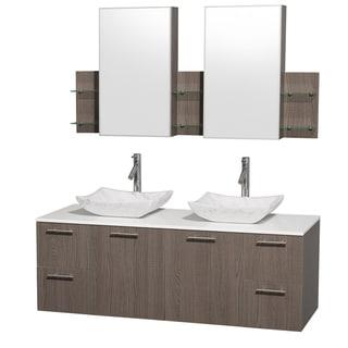 Wyndham Collection 'Amare' 60-inch Grey Oak/ White Top/ Carrera Sink Vanity Set