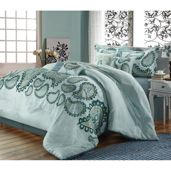 Taj 8-piece Aqua Comforter Set