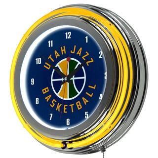 Utah Jazz NBA Chrome Double Neon Ring Clock