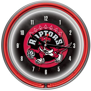 Toronto Raptors NBA Chrome Double Neon Ring Clock