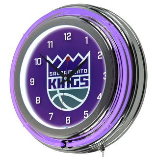 Sacramento Kings NBA Chrome Double Neon Ring Clock