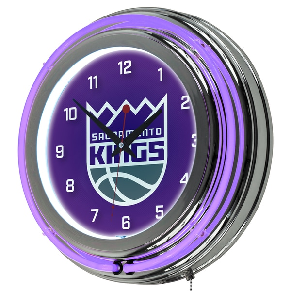 Sacramento Kings NBA Chrome Double Neon Ring Clock