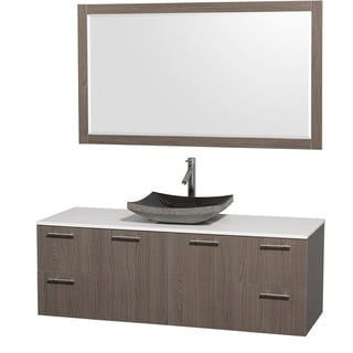 Wyndham Collection 'Amare' 60-inch Grey Oak/ White Top/ Granite Sink Vanity Set