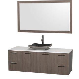 Wyndham Collection 'Amare' 60-inch Grey Oak/ White Top/ Granite Sink Vanity Set