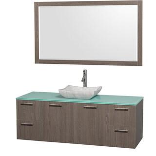 Wyndham Collection 'Amare' 60-inch Grey Oak/ Green Top/ Carrera Sink Vanity Set