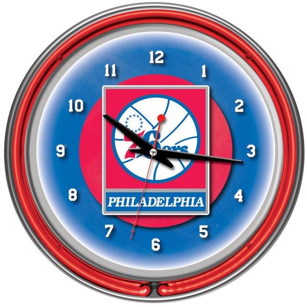 Philadelphia 76ers NBA Chrome Double Neon Clock