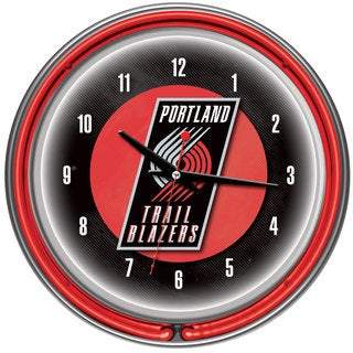 Portland Trail Blazers NBA Chrome Double Neon Ring Clock