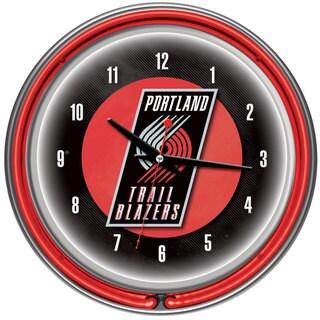 Portland Trail Blazers NBA Chrome Double Neon Ring Clock