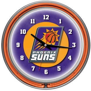 Phoenix Suns NBA Chrome Double Neon Ring Clock