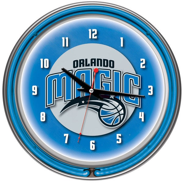 Orlando Magic NBA Chrome Double Neon Ring Clock