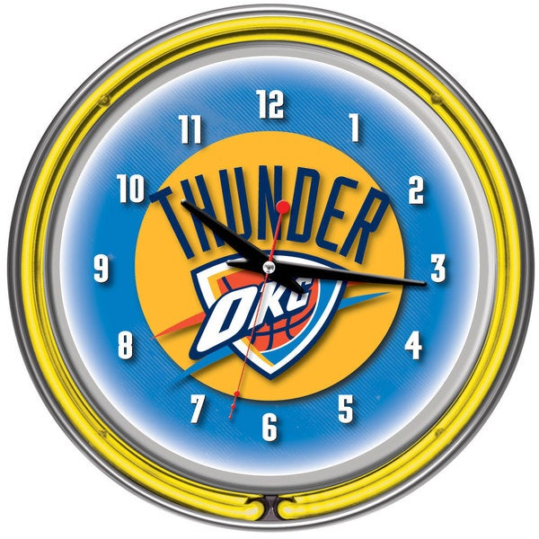 Oklahoma City Thunder NBA Chrome Double Neon Clock