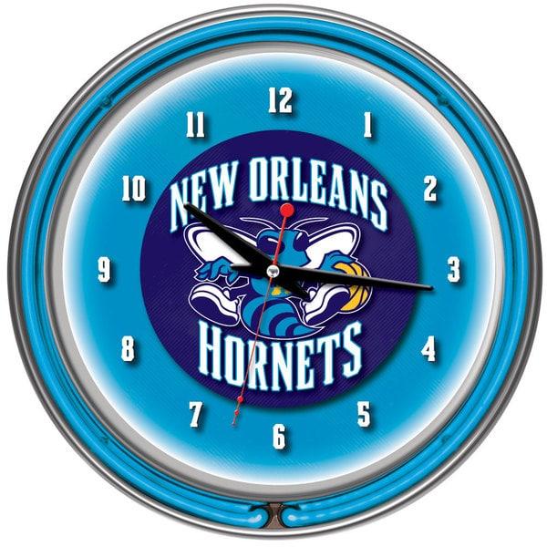 New Orleans Hornets NBA Chrome Double Neon Clock