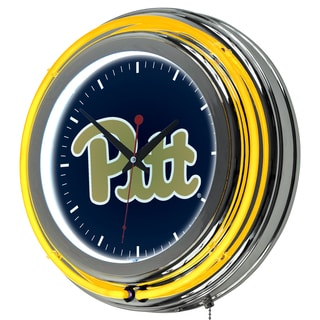 University of Pittsburgh Neon Clock - 14 inch Diameter