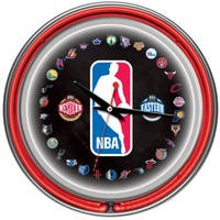 NBA Logo 30 Team Chrome Double Neon Ring Clock