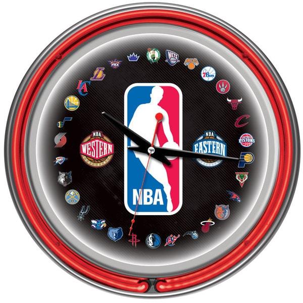 NBA Logo 30 Team Chrome Double Neon Ring Clock