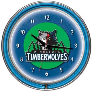Minnesota Timberwolves NBA Chrome Double Neon Ring Clock