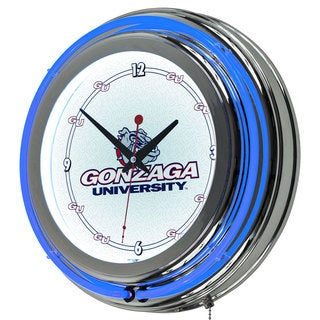 NCAA Gonzaga University Double Neon Ring Clock
