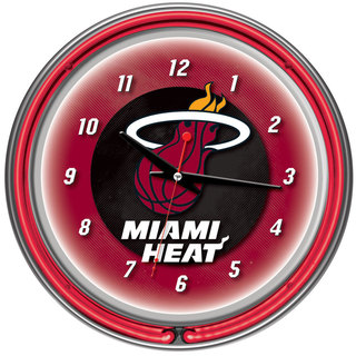 Miami Heat NBA Chrome Double Neon Ring Clock
