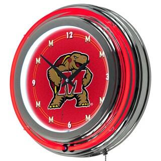 NCAA Maryland University Double Neon Ring Clock