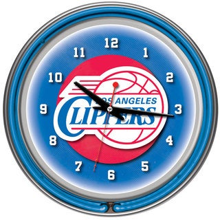 Los Angeles Clippers NBA Chrome Double Neon Ring Clock