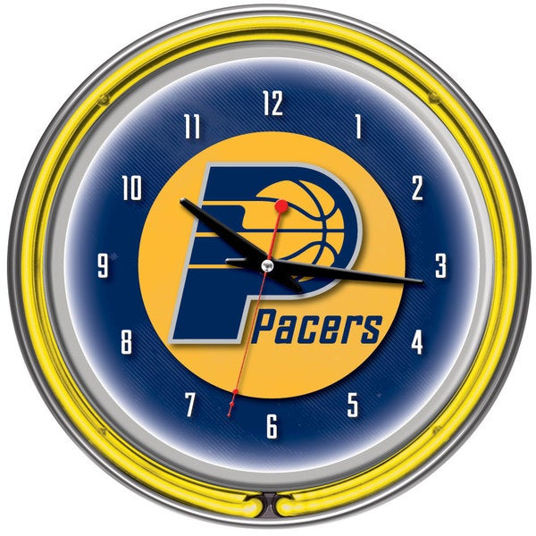 Indiana Pacers NBA Chrome Double Neon Ring Clock