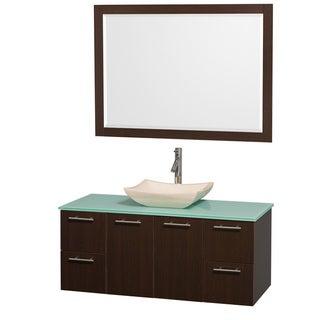 Wyndham Collection 'Amare' 48-inch Espresso/ Green Top/ Ivory Sink Vanity Set