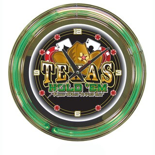 Texas Hold 'em Double Neon Ring Clock