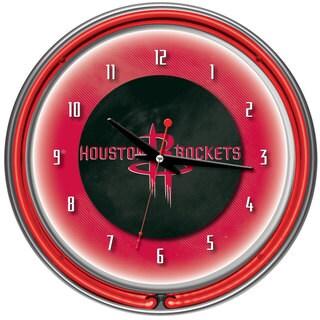 Houston Rockets NBA Chrome Double Neon Ring Clock
