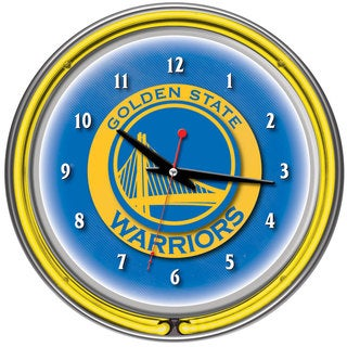 Golden State Warriors NBA Chrome Double Neon Ring Clock
