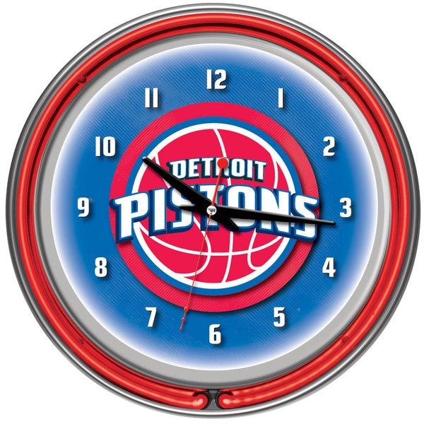 Detroit Pistons NBA Chrome Double Neon Ring Clock