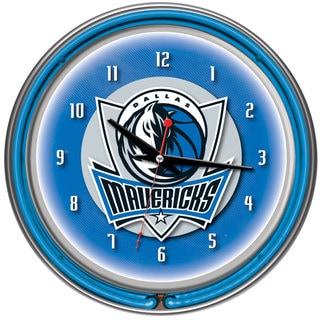 Dallas Mavericks NBA Chrome Double Neon Ring Clock