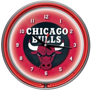 Chicago Bulls NBA Chrome Double Neon Ring Clock