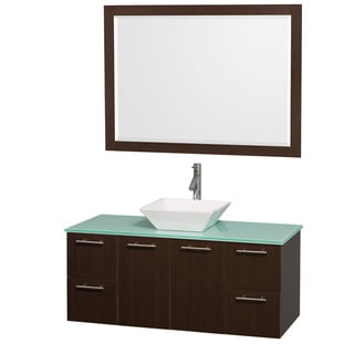 Wyndham Collection 'Amare' 48-inch Espresso/ Green Top/ White Sink Vanity Set