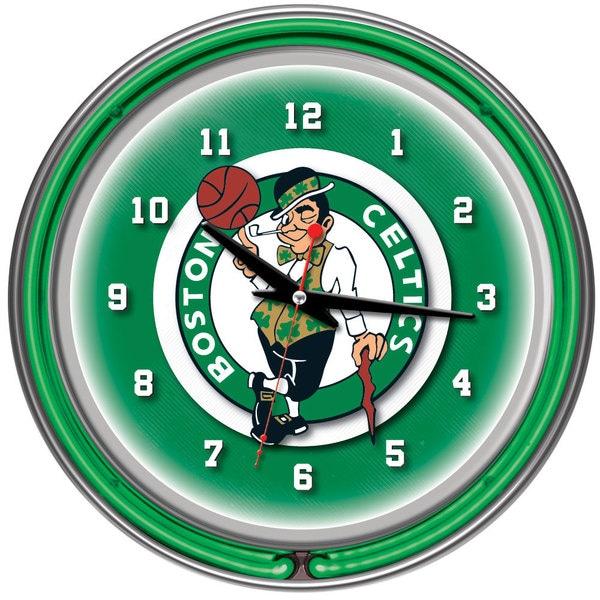 Boston Celtics NBA Chrome Double Neon Ring Clock