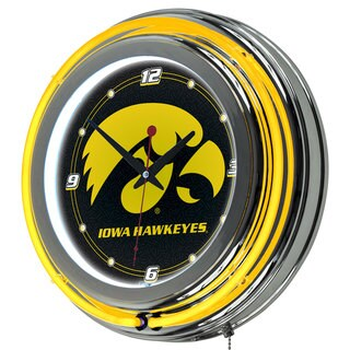 NCAA University of Iowa Neon Clock