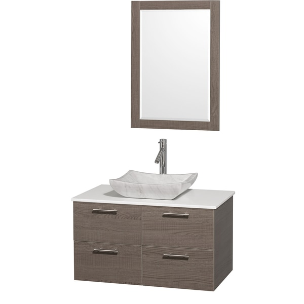 shop wyndham collection 39 amare 39 36 inch grey oak white top carrera sink vanity set free