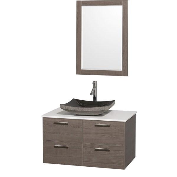 Wyndham Collection 'Amare' 36-inch Grey Oak/ White Top/ Granite Sink Vanity Set
