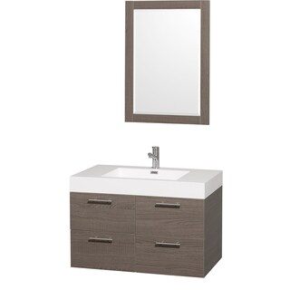 Wyndham Collection 'Amare' 36-inch Grey Oak/ White Single Vanity Set