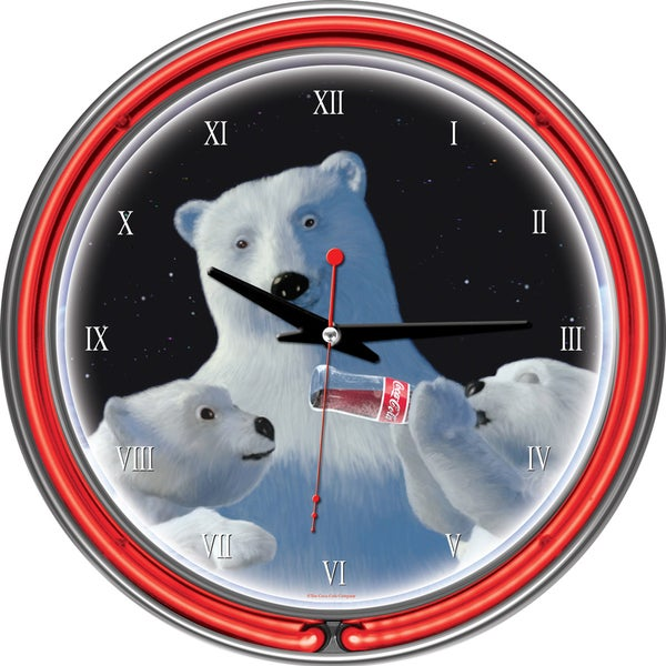 Coca-Cola Polar Bear with Cubs Neon Clock