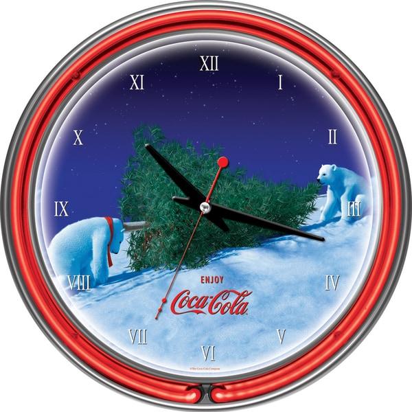 Coca-Cola Polar Bear with Tree Neon Clock