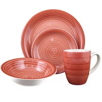 16-Piece Red Swirl Stoneware Dinnerware Set