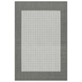 Recife Checkered Field Grey White Rug (5'3 x 7'6')