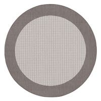 Couristan Recife Checkered Field Grey-White Indoor/Outdoor Round Rug - 7'6 x 7'6