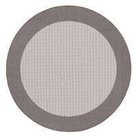 """Recife Checkered Field Grey/ White Indoor/Outdoor Round Area Rug - 8'6"""" round"""