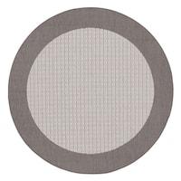 "Recife Checkered Field Grey/ White Indoor/Outdoor Round Area Rug - 8'6"" x 8'6"""