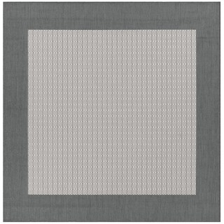 "Recife Checkered Field Grey-White Indoor/Outdoor Square Rug - 8'6"" x 8'6"""