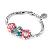 Little Miss Twin Stars Goldplated Children'S Enamel Bead Bracelet