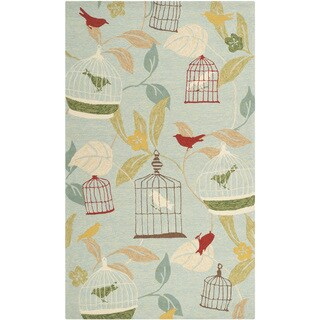 Hand-hooked Canaries Pear Green Indoor/Outdoor Area Rug - 3' x 5'