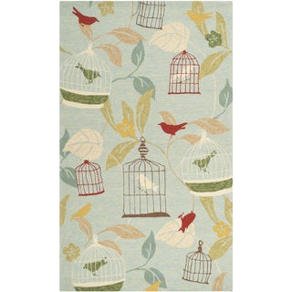 Hand-hooked Canaries Pear Green Indoor/Outdoor Rug (2' x 3')